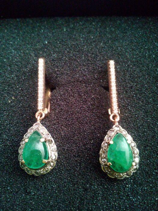 9ed20b72df7f Catawiki pagina online de subastas Pendientes colgantes antiguos con  esmeralda y diamantes