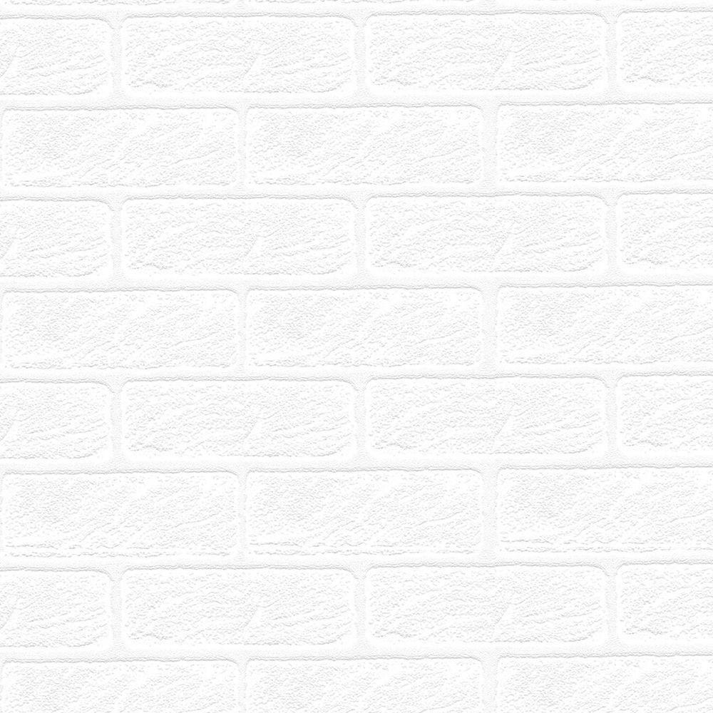 Graham & Brown 56 sq. ft. Brick Paintable White Wallpaper