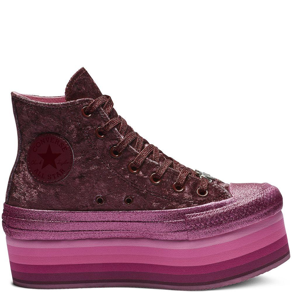 16247b884d4 Converse x Miley Cyrus Chuck Taylor All Star Platform High Top Velvet Dark  Burgundy Pink dark burgundy pink