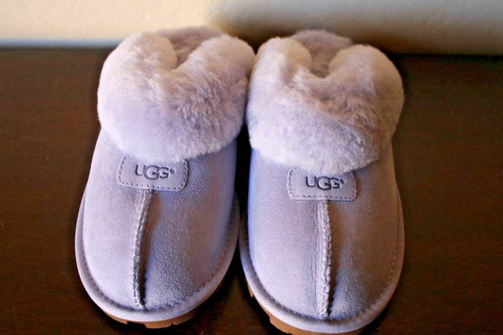 671bde82359 UGG Sheepskin Coquette Slippers Icelandic Blue Light Purple Women's ...