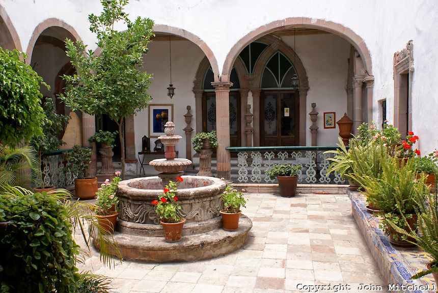 Spanish Colonial Courtyards Interior Courtyard Of A