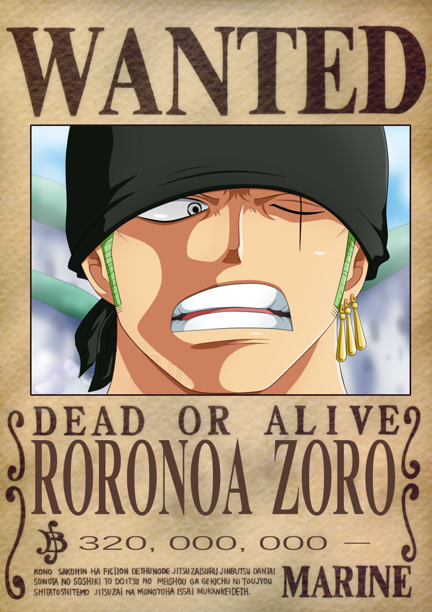 Zoro Dressrosa Wanted Poster Roronoa Zoro One Piece Bounties One Piece Anime