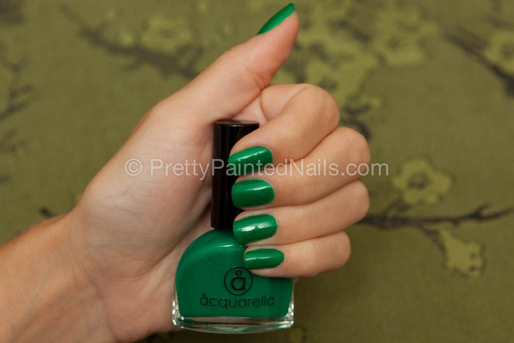 Acquarella water based nail polish swatch in Wicked (green). http ...