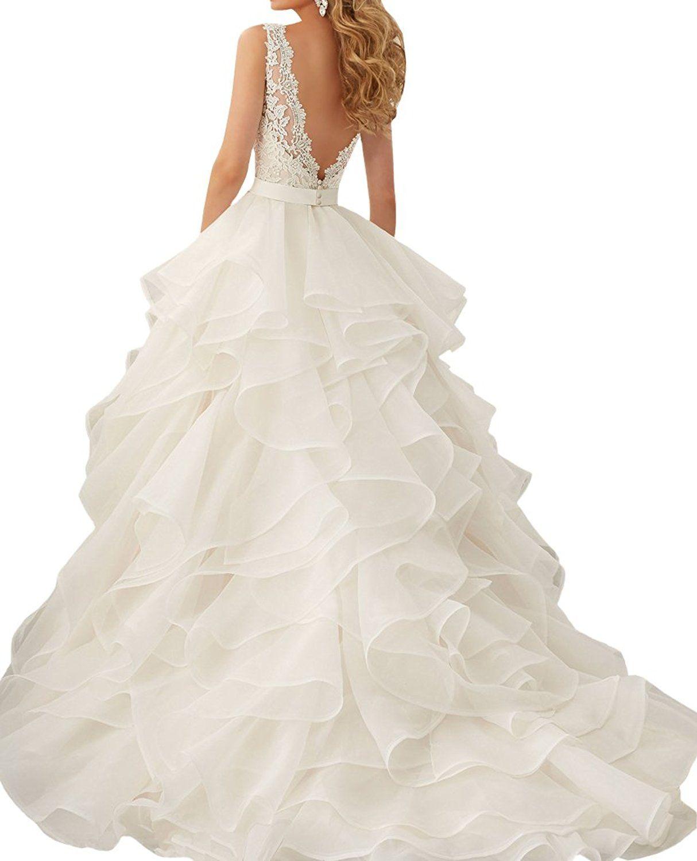 Hochzeitskleid: A Linie V-Ausschnitt Organza Prinzessin ...