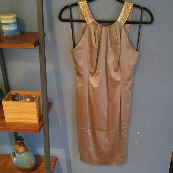 Beautiful gold Calvin Klein dress This tone of gold is almost brown like with gold sequin straps size 4 NWOT Calvin Klein Dresses Midi