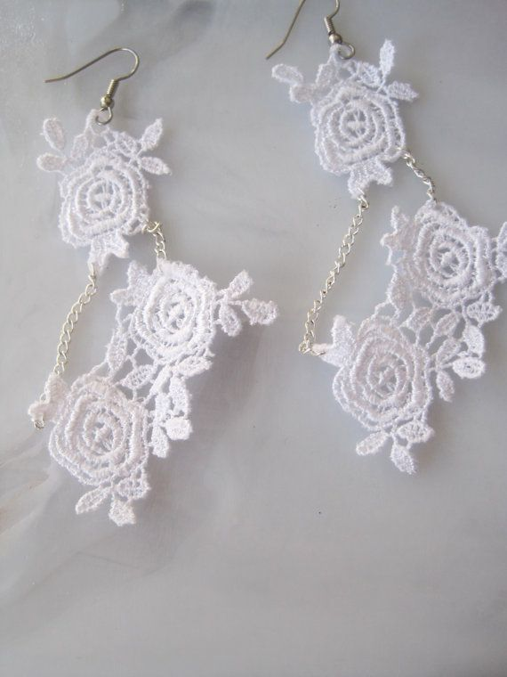 White Lace Earrings by LamplightEmporium on Etsy
