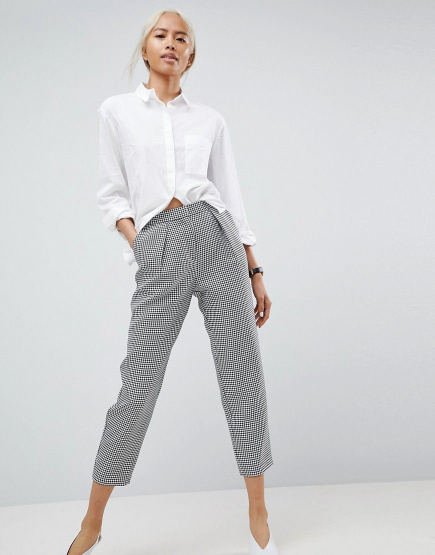 Asos Womens Check Culottes With Button Detail Check - Pants