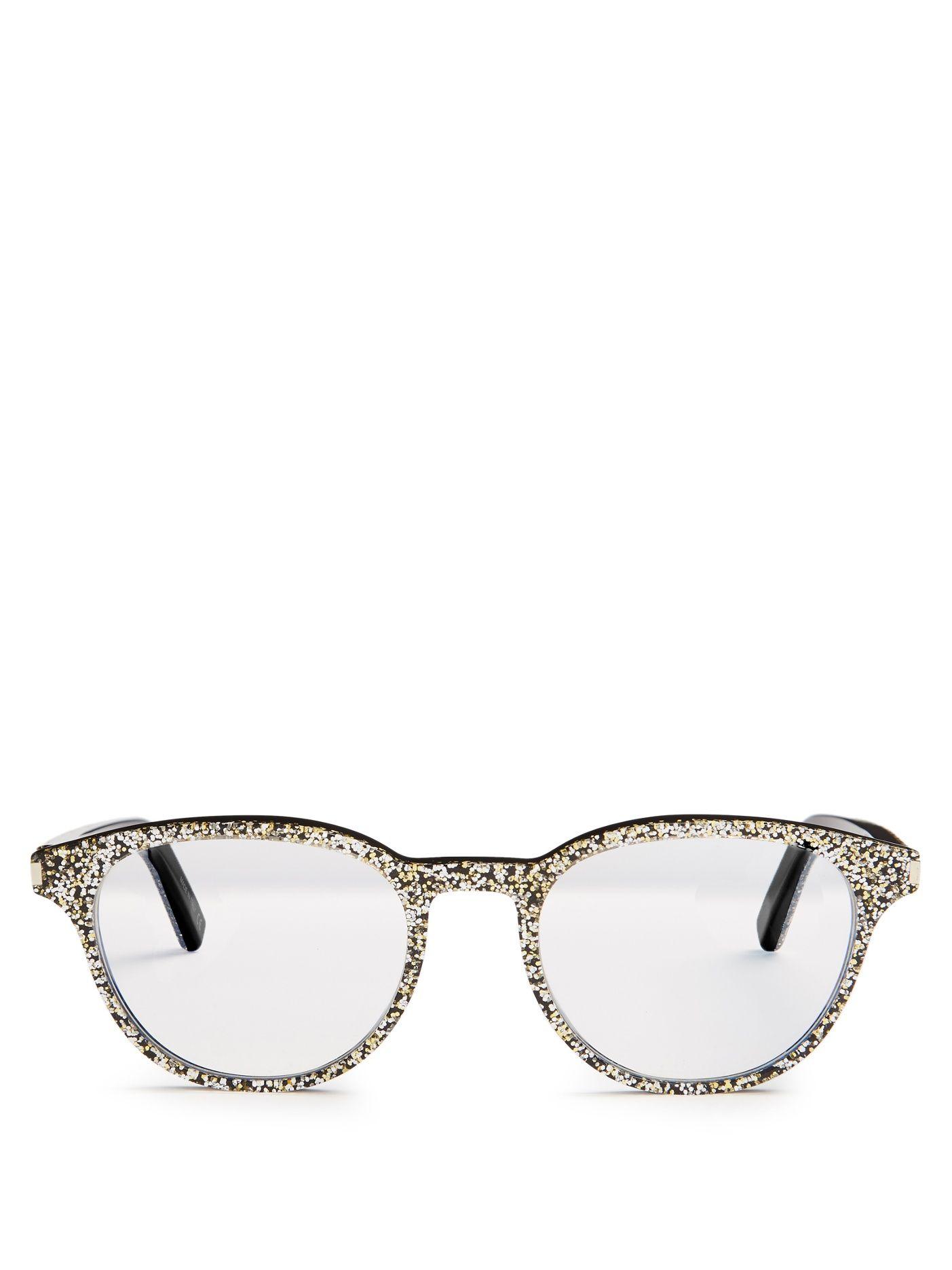 7c748d9ff Saint laurent Round-frame glitter glasses £175 Armações De Óculos, Óculos  De Brilho