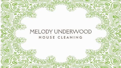 Classic green paisley design for house cleaner maid service business classic green paisley design for house cleaner maid service business cards httpwww reheart Gallery