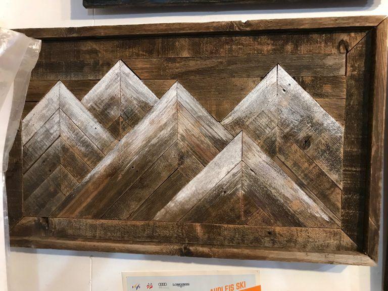 Five Mountain Repurposed Barnwood Wall Art Barnwood Wall Art Mountain Wood Art Wood Wall Art