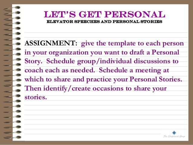 LetS Get Personal  Elevator Speeches And Personal Stories For
