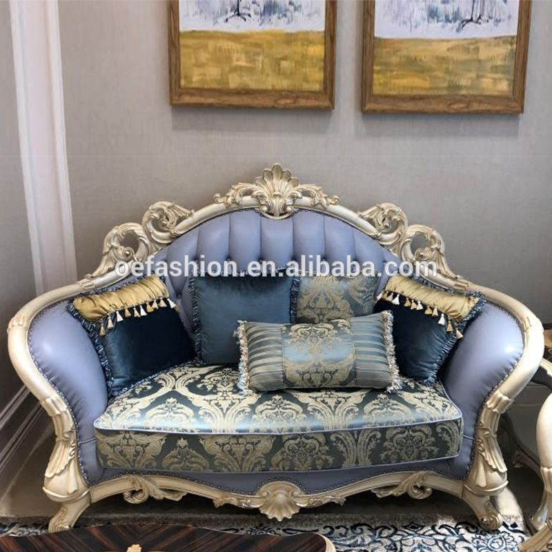 French Style Living Room Furniture Fabric Sofa Set European New Classic Wood Carving Flamboyant Upholstered Fabric Sofa View New Luxury Wood Sofa Set Classic D Wood Sofa Ornate Furniture Sofa Set