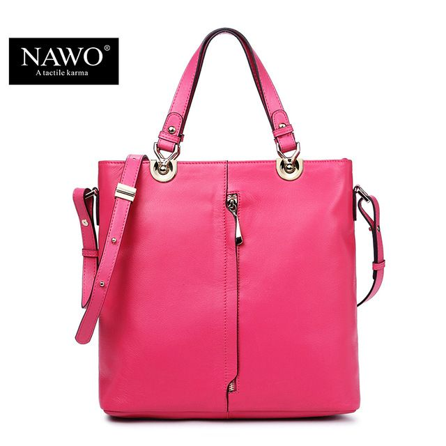 NAWO Leather Woman Bags 2016 Bag Handbag Fashion Handbag Brand Luxury Tote  Shoulder Bag Zipper Womens Hand Bags Designers Bolsas d5fbf75f57ae2