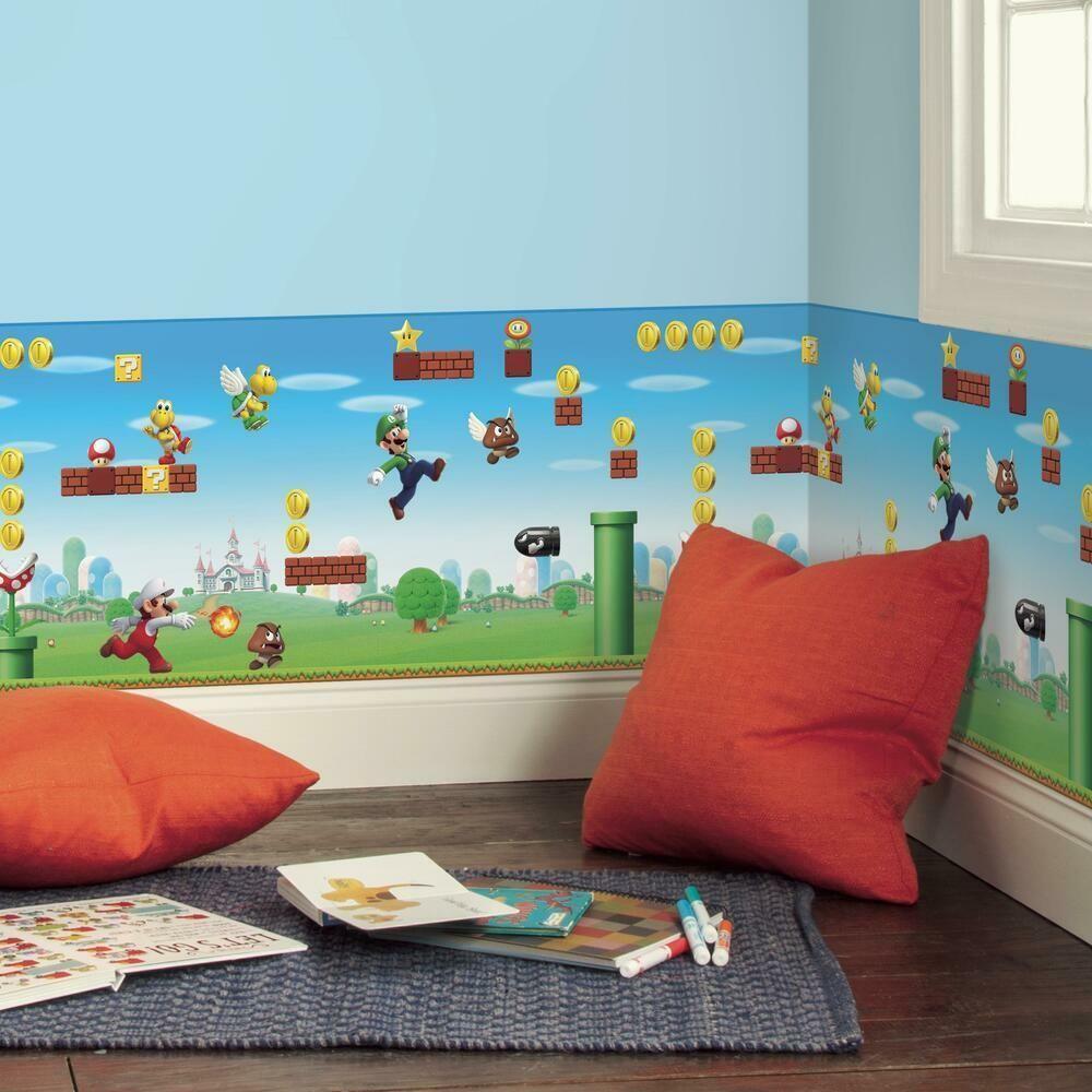 Super Mario Scene Peel And Stick Wallpaper Border Mario Room Super Mario Room Tween Boy Bedroom