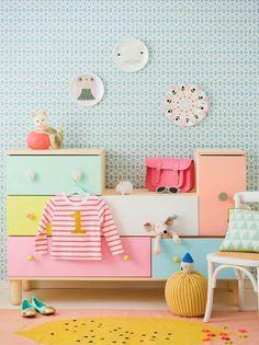Ikea ps 2012 kommode gestrichen in pastellfarben kind for Kommode kinderzimmer ikea
