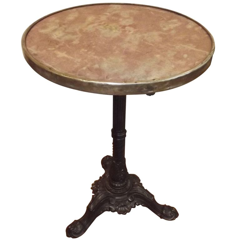 Marble Topped Bistro Table W/ Cast Iron Base