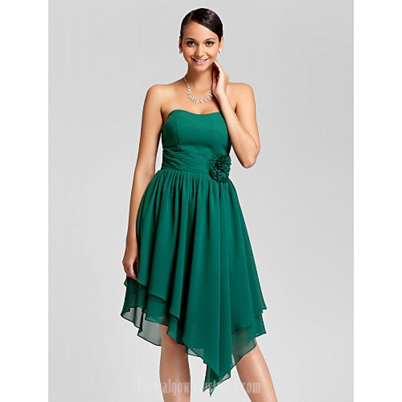 Asymmetrical Short Knee Length Chiffon Bridesmaid Dress Dark Green