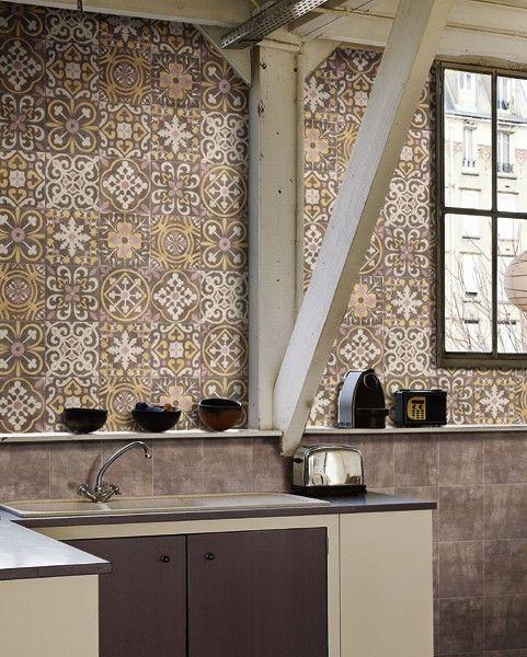 Mainzu #Cementine Bastide Choco 20x20 cm, 9 verschiedene Dekors - fliesen für küche