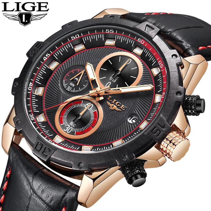 982de54e5689 Top brand LIGE men s watch luxury leather casual quartz watch men s army  military sports quartz watch