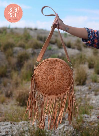 Mandala round Fringe Bag