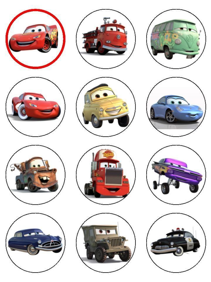 24 Cars Lightning McQueen ICING Edible Cupcake Toppers Party ...