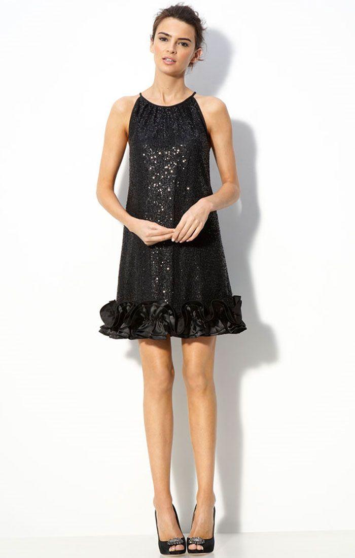 cocktail dresses | Sequin Tulle Trapeze Black Cocktail Dress ...