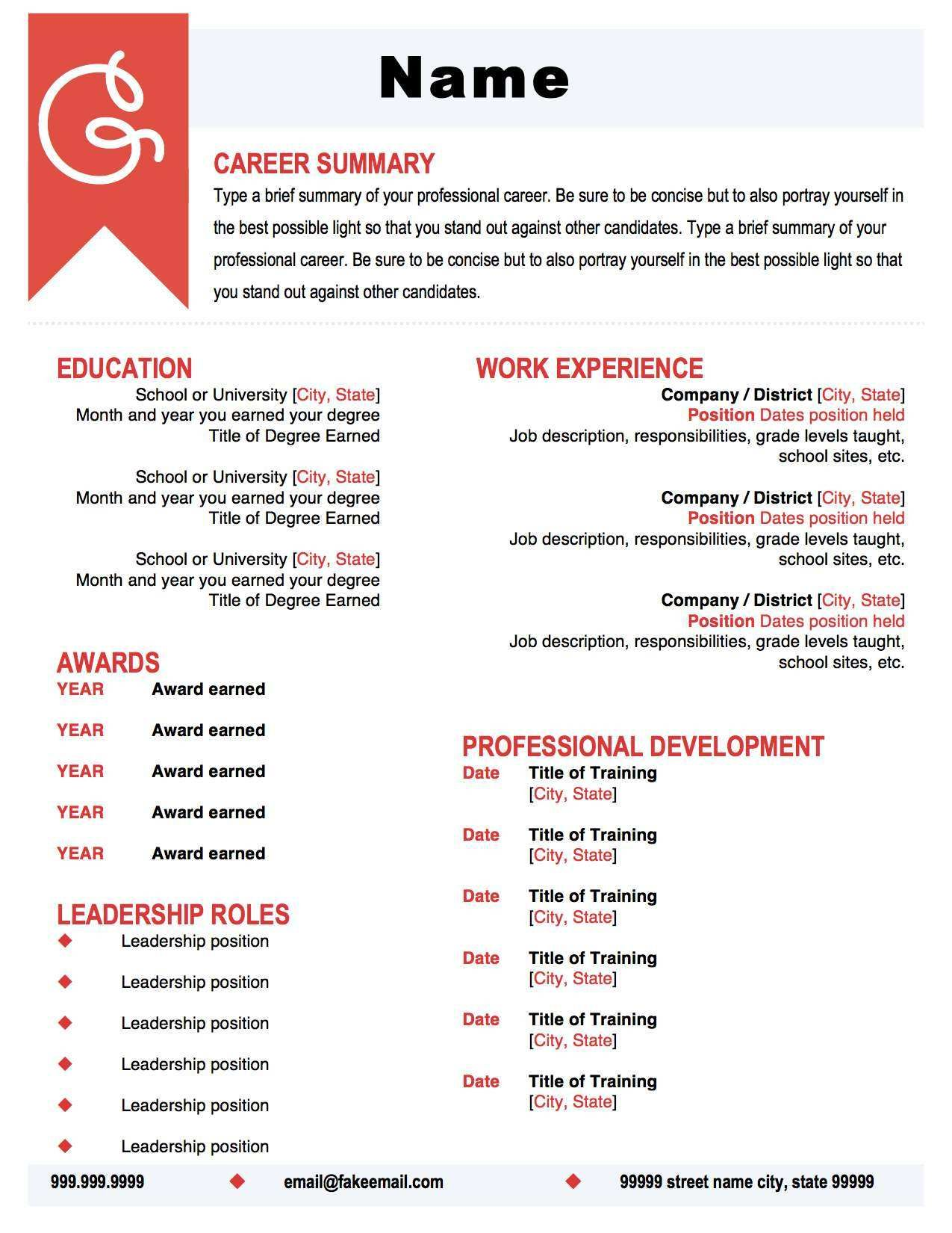 Coral and Black Resume Template. Make your resume pop with