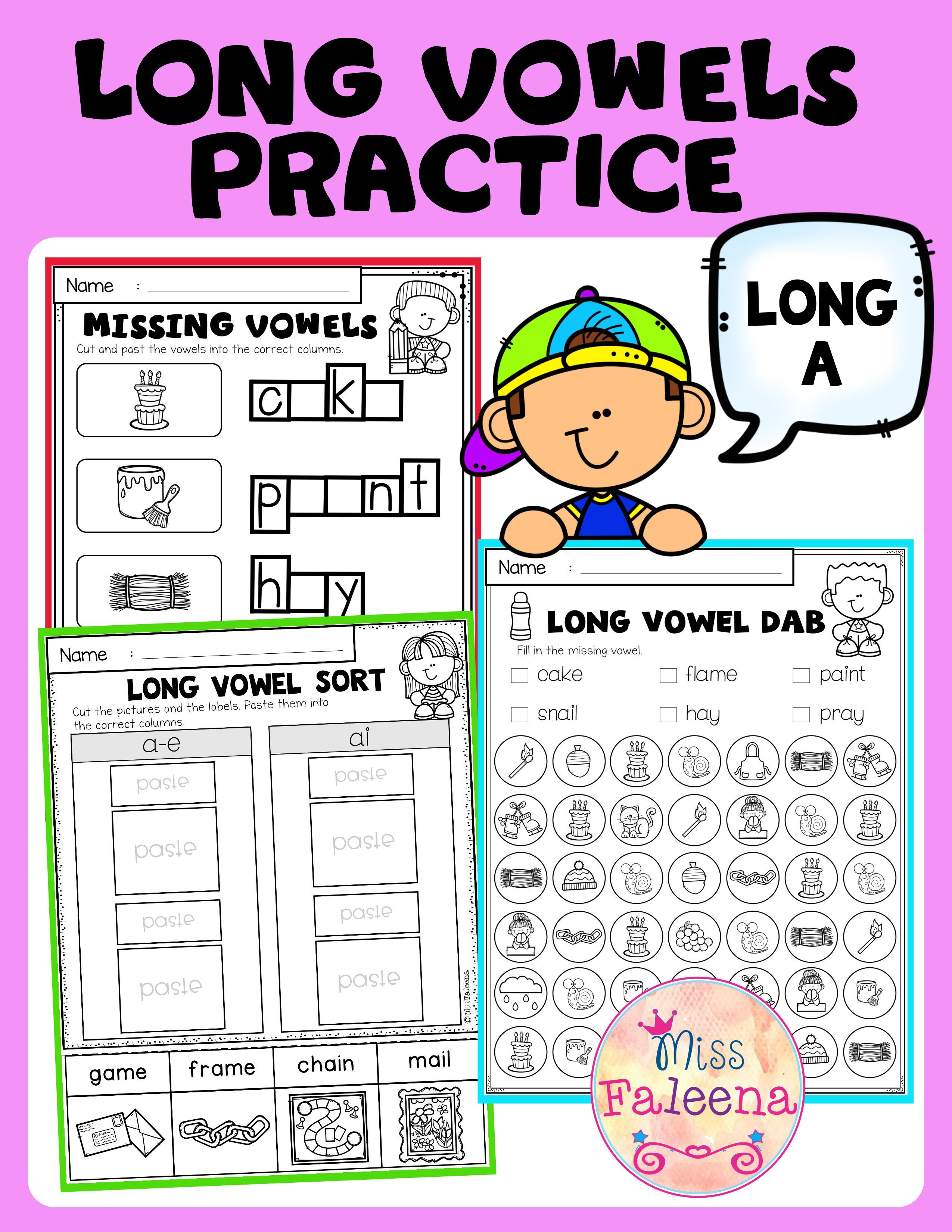 Long Vowel Practice Long A Vowel Practice Long Vowel Words Vowel Activities