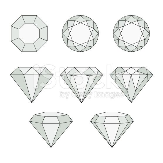 Diamond Drawing Set of isolated gem st...