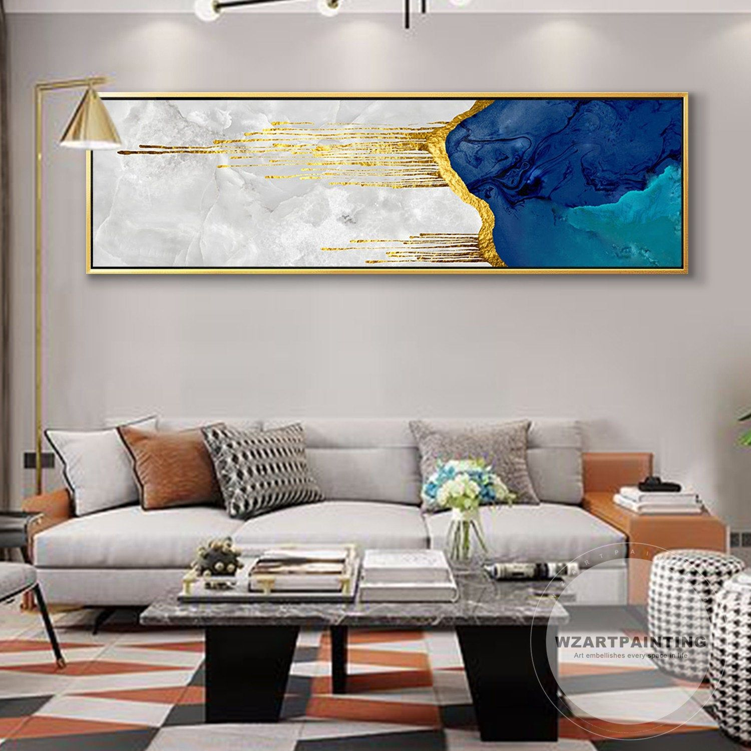 Blue Love Kiss Canvas Painting Abstract Print On Poster Pictures Home Bedroom Living Room Decoration Wall Art 60x120cm Frameless