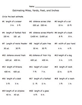 Measurement Estimation Inch, Feet, Yards, Miles Worksheet | ALL ...