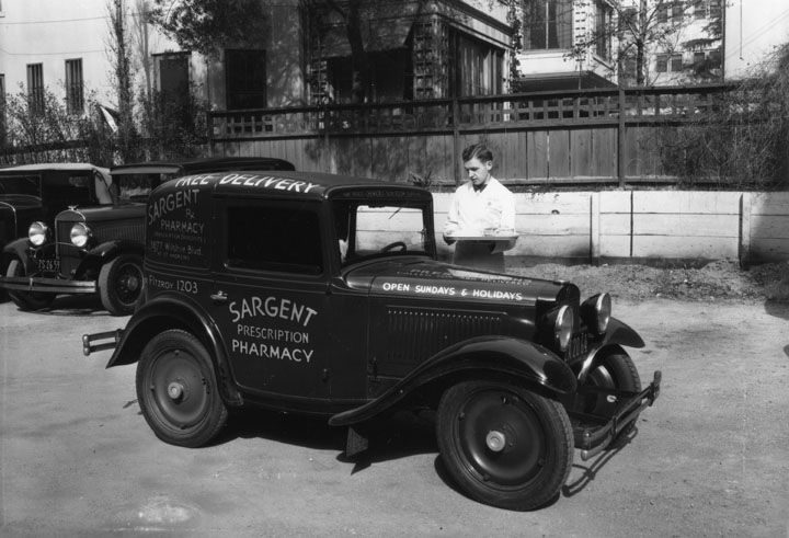 Pharmacy delivering truck, 1928.