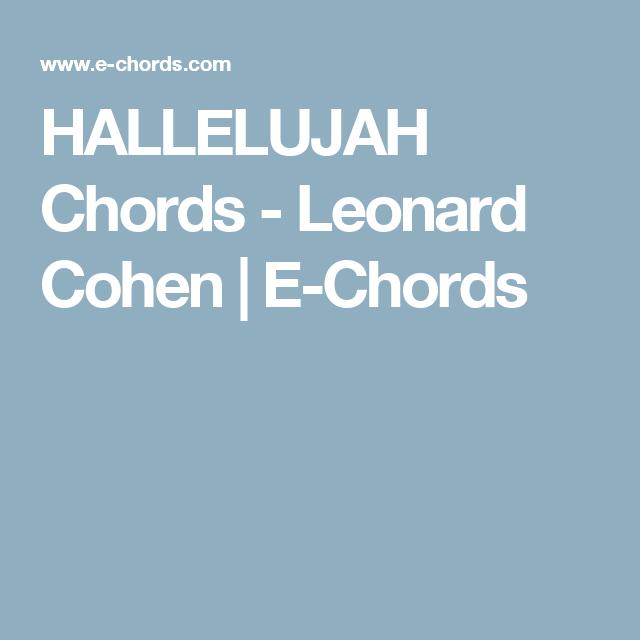 HALLELUJAH Chords - Leonard Cohen | E-Chords | Guitar - Chords ...