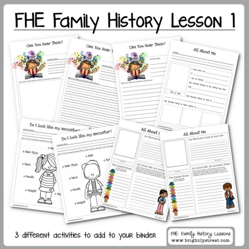 Family History: Family Home Evening Lesson 1 | Free worksheets ...