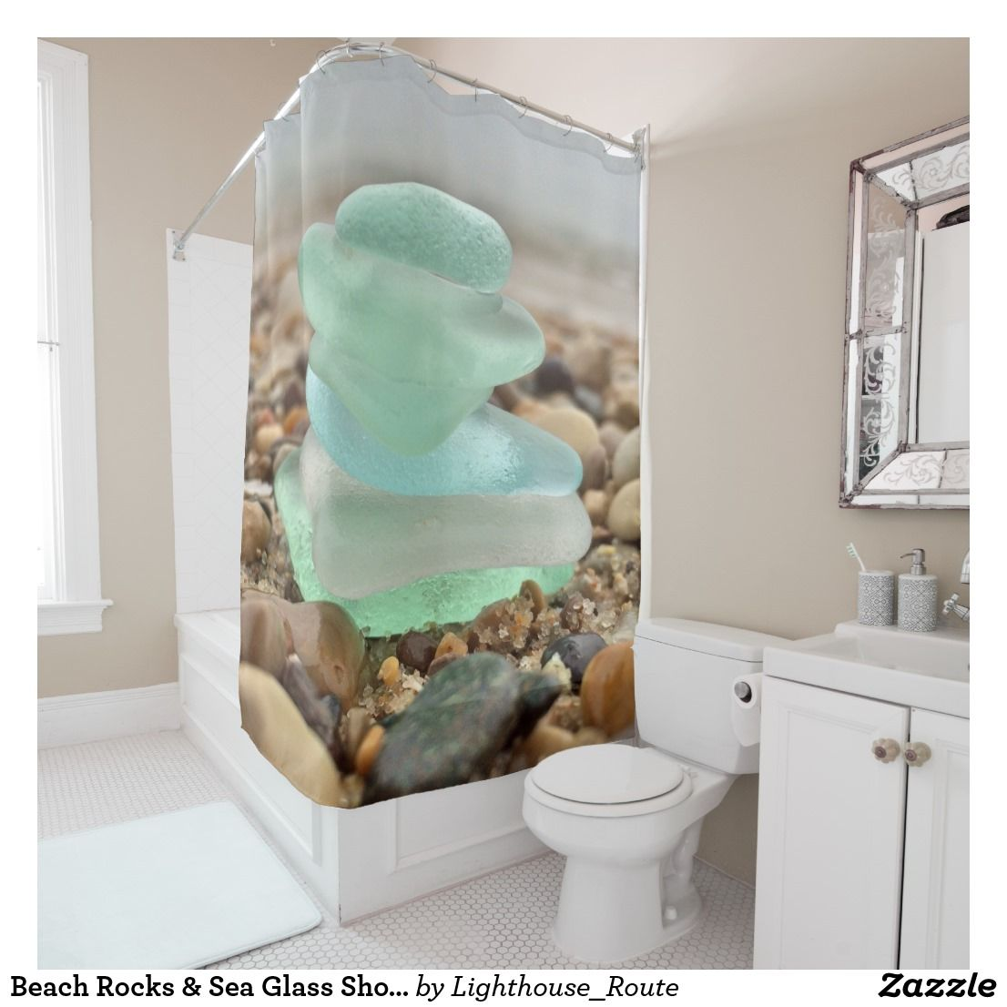 Beach Rocks Sea Glass Shower Curtain