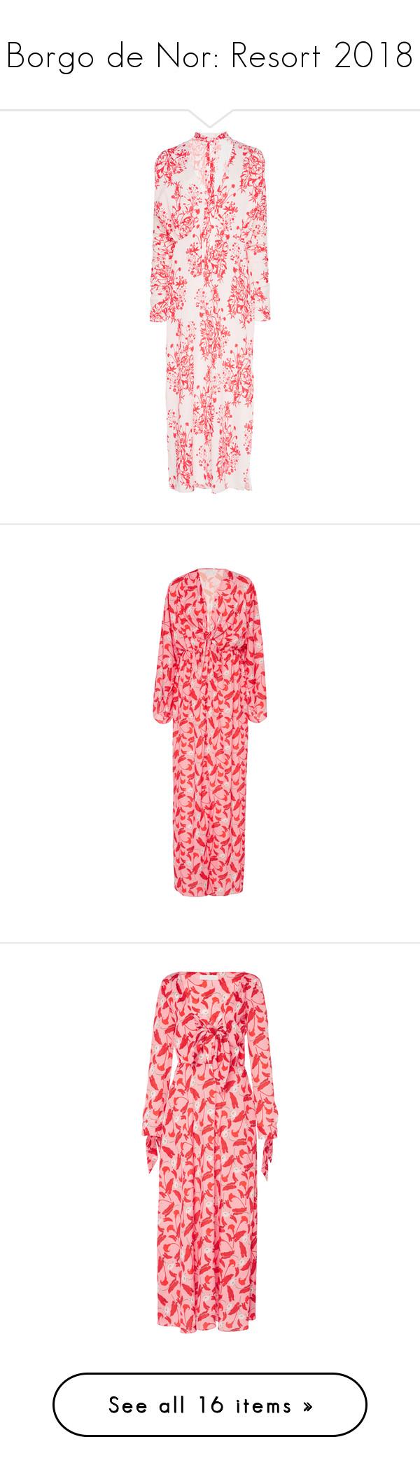 """Borgo de Nor: Resort 2018"" by livnd ❤ liked on Polyvore featuring livndfashion, resort2018, livndborgodenor, BorgodeNor, dresses, print, necktie dress, pattern dress, neck tie dress and pink dress"