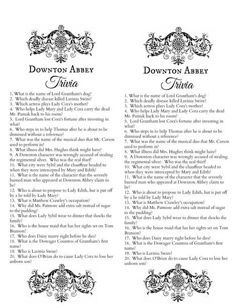 Downton Abbey Trivia Quiz Free Printable, by Make Life Lovelypdf - free printable quiz