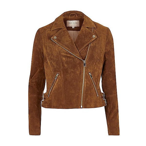 Brown suede biker jacket ❤ liked on Polyvore featuring outerwear, jackets, tall jackets, long sleeve jacket, brown suede leather jacket, motorcycle jacket and suede jacket