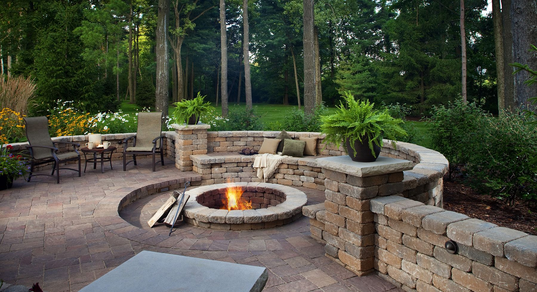 Belgard Firepit and sitting walls. Could you imagine ... on Paver Patio With Fire Pit Ideas id=72132