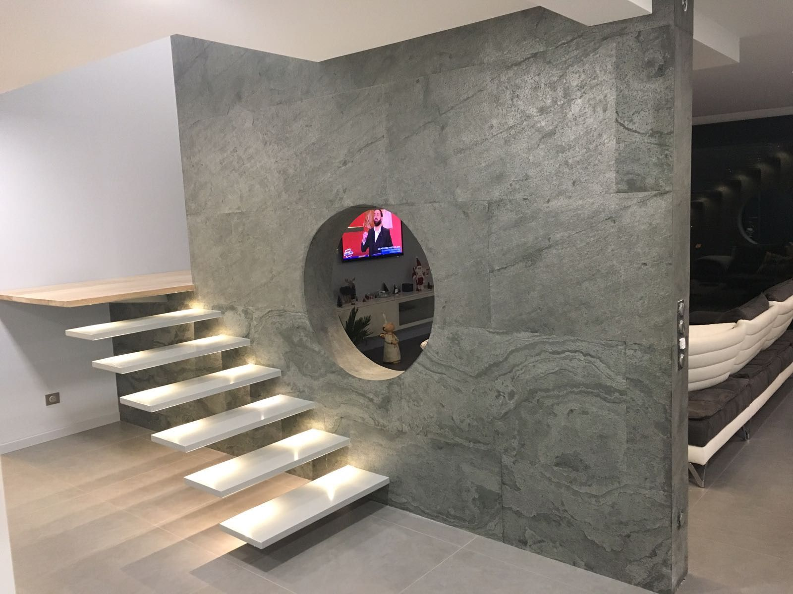 A room divider made with slate lite the paperthin real stone veneer