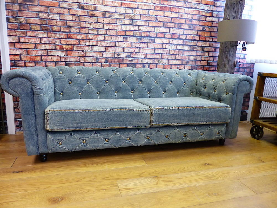 Best Blue Denim Chesterfield Sofas Blue Vintage Couch Made 400 x 300