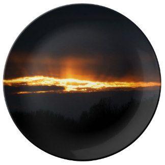 Sunset, Decorative Porcelain Plate. Porcelain Plate
