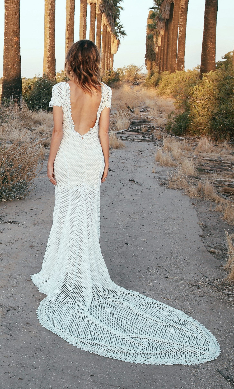 Crochet Lace Cap Sleeve Backless Wedding Dress Magnolia Backless Wedding Amazing Wedding Dress Wedding Dresses