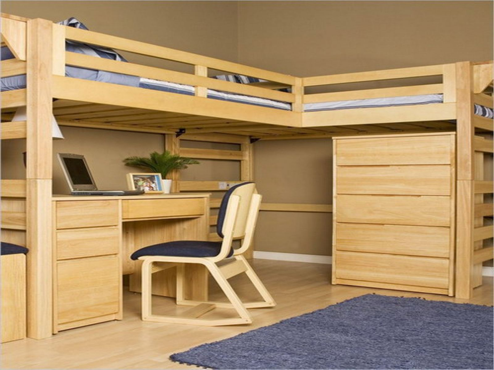 Oak loft bed with desk  Astonishing L Shaped Bunk Beds Designs With Pictures  Decor Or