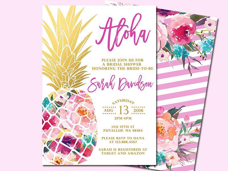 pineapple bridal shower invitation tropical aloha bridal shower
