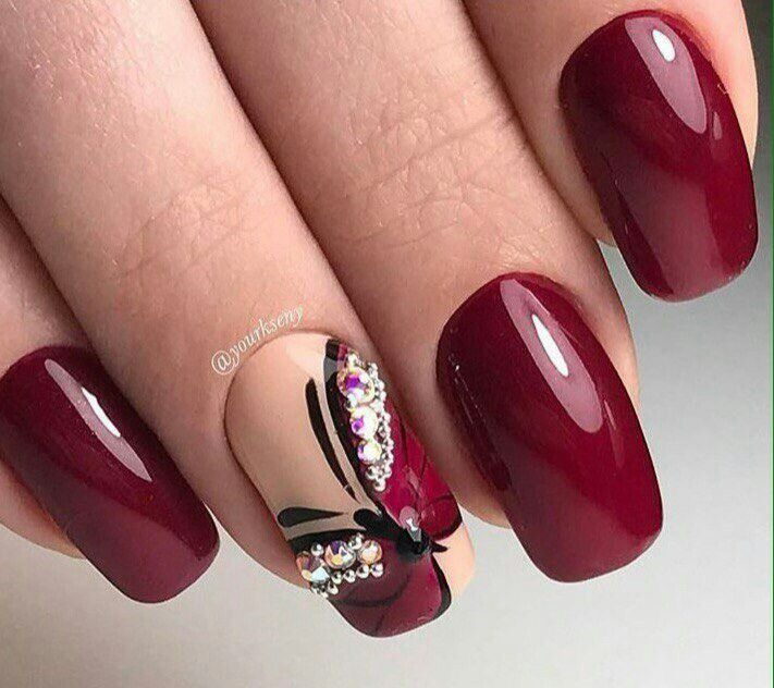Pin By Iski On Nailed Butterfly Nail Art Best Nail Art Designs Burgundy Nails