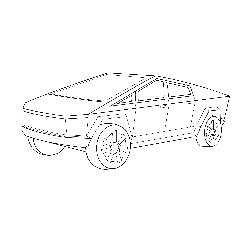 Line Drawing Of The Tesla Cybertruck Line Art Vector Line Drawing Line Art