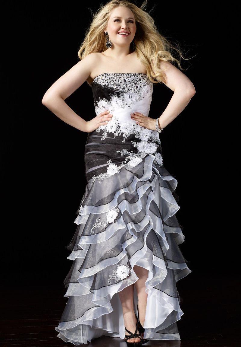 Chiffon strapless mermaid plus size prom dress plus whiteazalea
