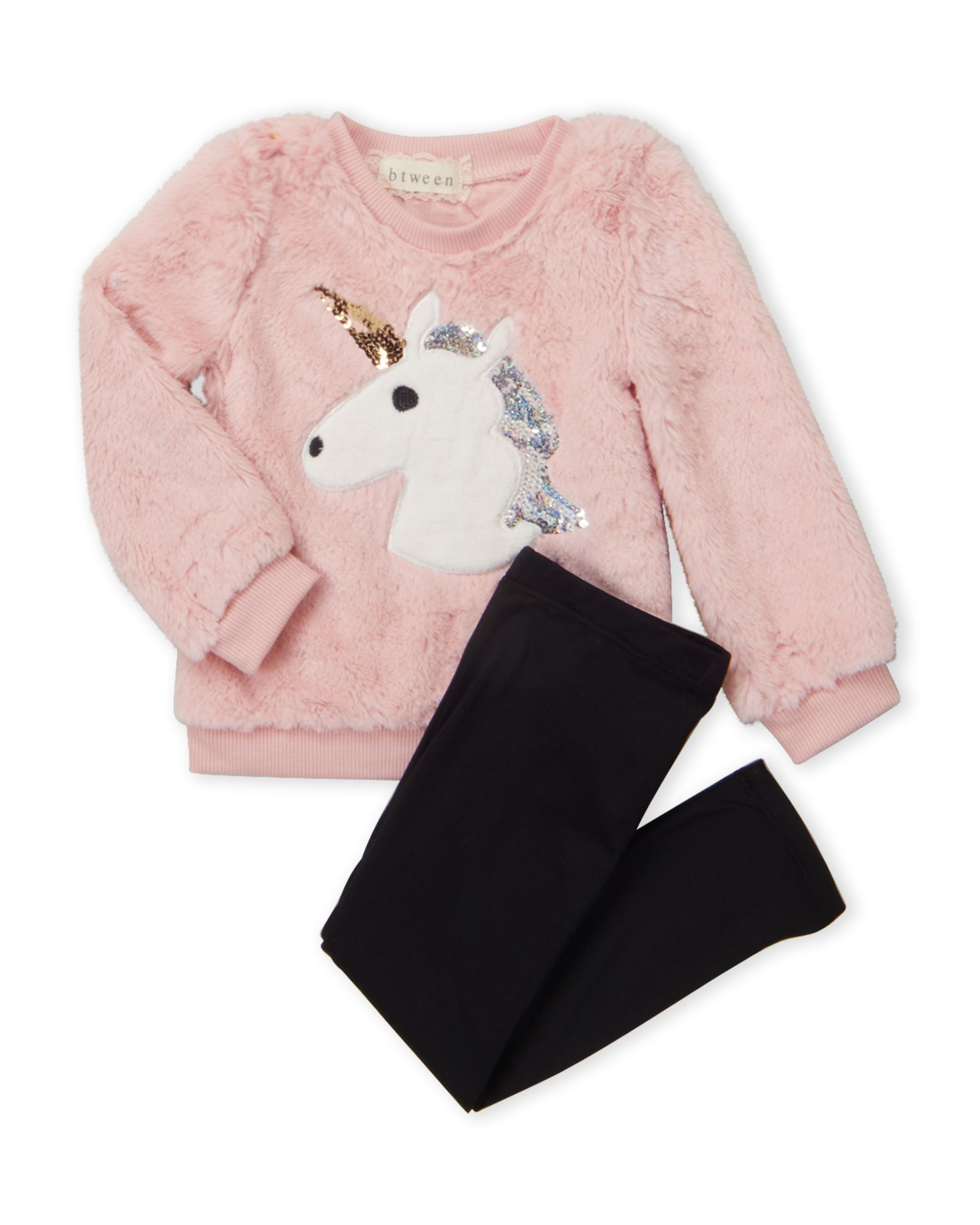 Btween (Toddler Girls) Two-Piece Faux Fur Unicorn Pullover