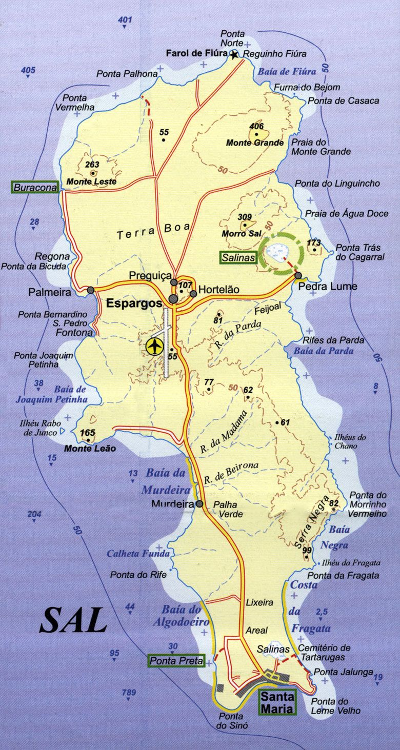 mapa ostrova Sal | My | Cape verde map, Cape verde holidays ... on